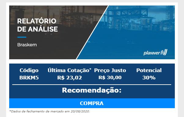 Braskem (BRKM5): Planner recomenda compra com preço-alvo em R$ 30