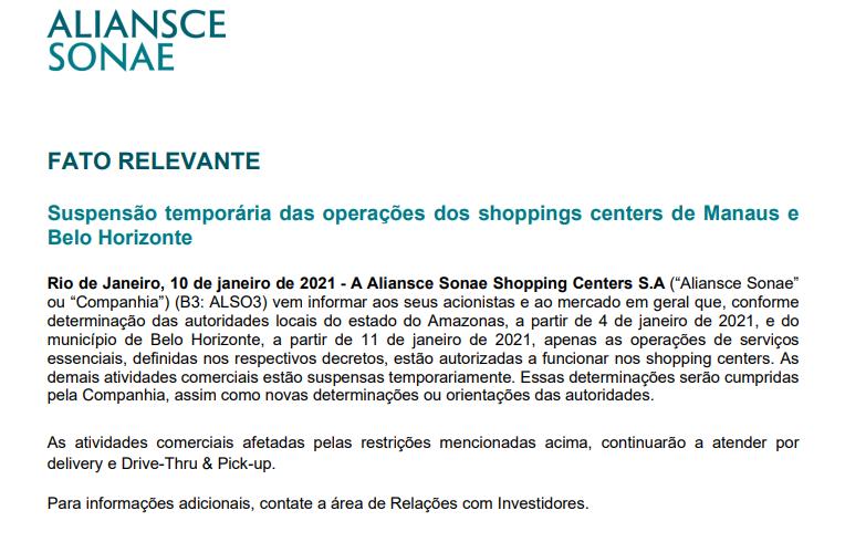 Aliansce Sonae (ALSO3) mantém apenas serviços essenciais em shoppings de Manaus e BH