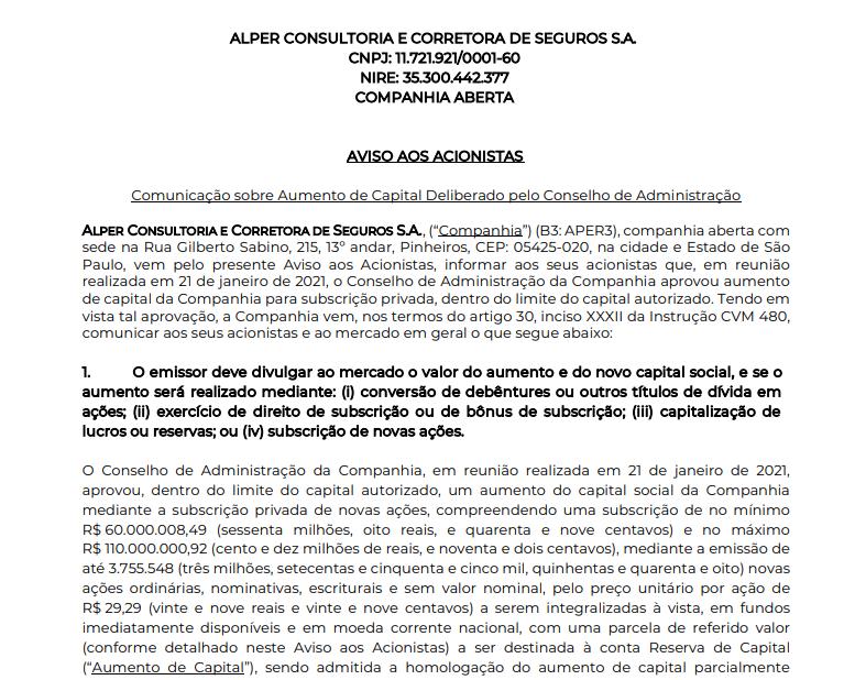 Alper (APER3) promove aumento de capital via subscrição privada