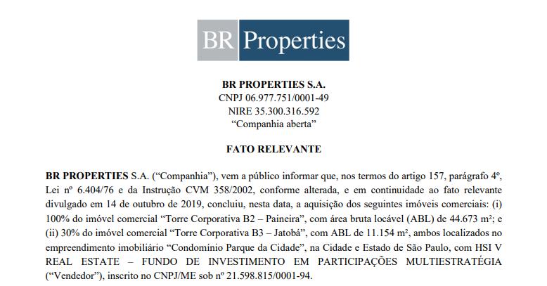 BR Properties (BRPR3) adquire empreendimentos no condomínio Parque da Cidade