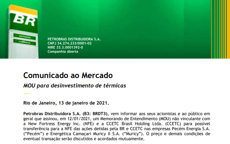 BR Distribuidora (BRDT3) assina com New Fortress e CCETC Brasil para transferência de ações