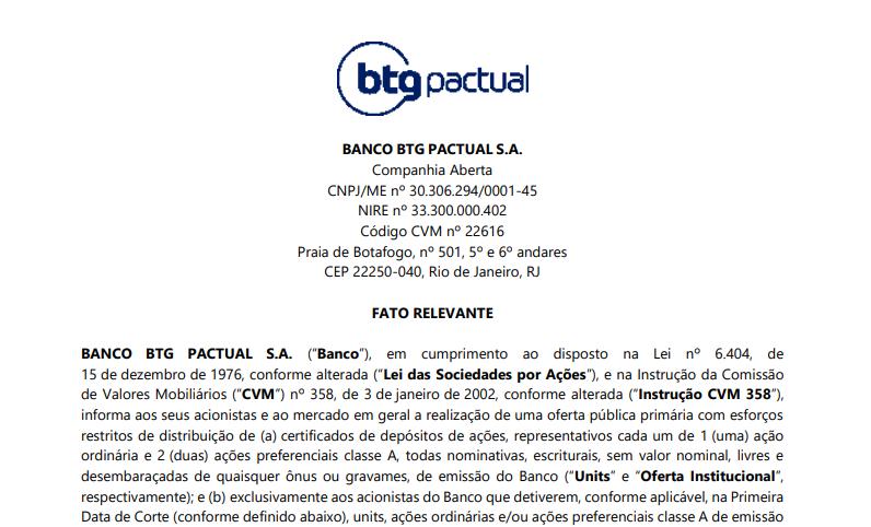 BTG Pactual (BPAC11) fará oferta pública primária de certificados de depósitos de ações