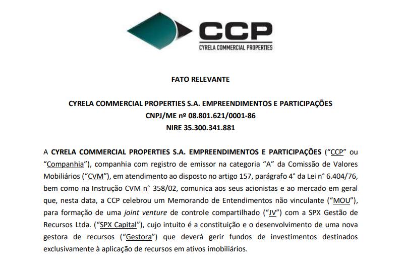 Cyrela (CYRE3) e SPX assinam memorando de entendimento para formação de joint venture
