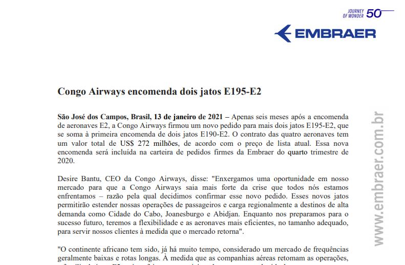 Embraer (EMBR3) recebe encomenda de dois jatos E195-E2 da Congo Airways