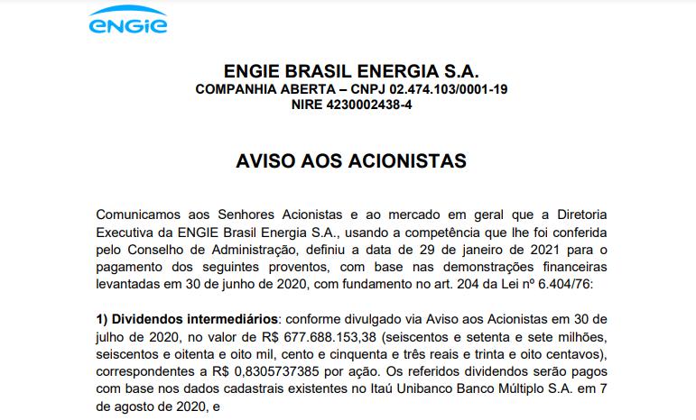 Engie Brasil (EGIE3) anuncia pagamento de dividendos para 29 de janeiro e JCP em abril