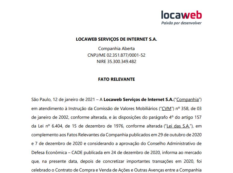Locaweb (LWSA3) celebra contrato de aquisição da Vinci Tecnologia e Marketing