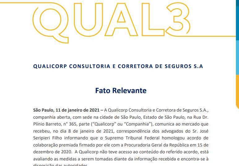 Qualicorp (QUAL3) não teve acesso à delação premiada de seu fundador