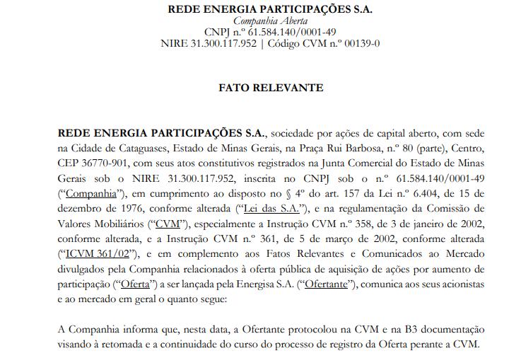 OPA: Energisa (ENGI3) protocola documento para oferta de aquisição da Rede Energia Participações