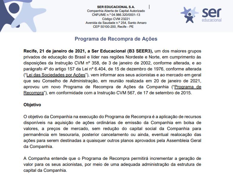 SER Educacional (SEER3) anuncia programa de recompra de ações