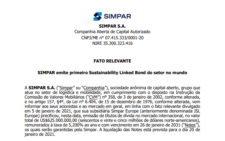 Simpar (SIMH3) emite primeiro Sustainability Linked Bond do setor no mundo