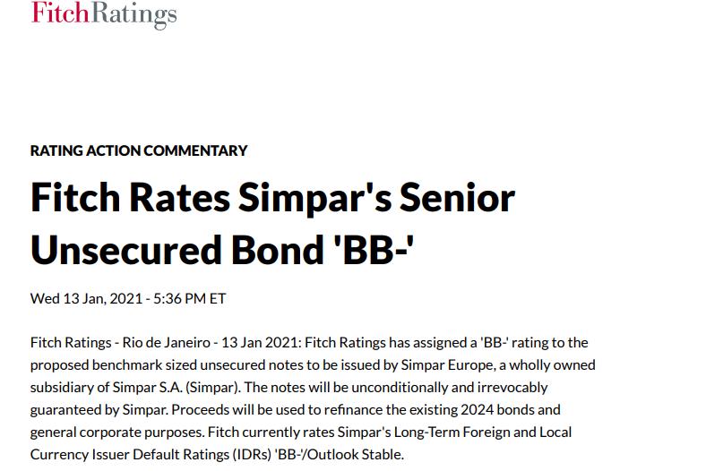 Simpar (SIMH3) tem rating 'BB-' atribuído pela Fitch por 'forte perfil de negócio