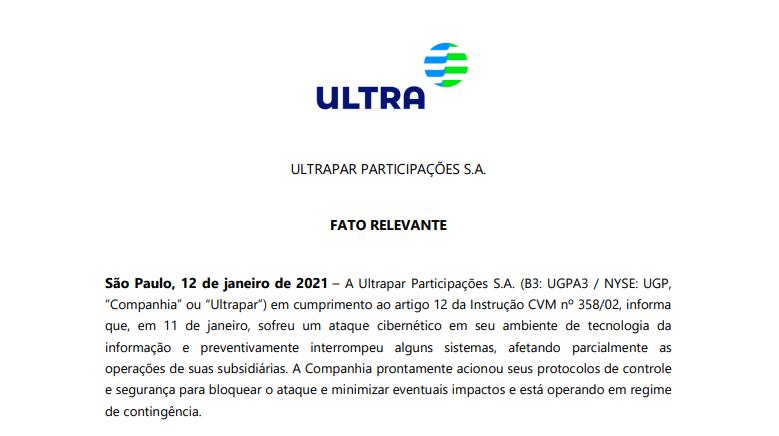 Ultrapar (UGPA3) sofre ataque cibernético e tem operações parcialmente afetadas