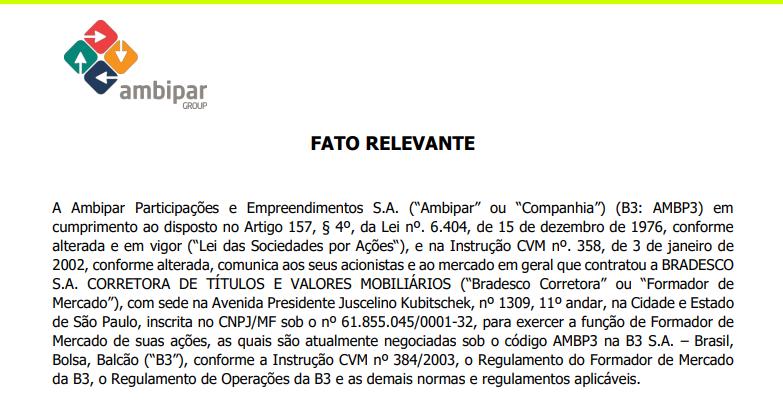 Ambipar (AMBP3) adquire empresa americana e contrata Bradesco Corretora