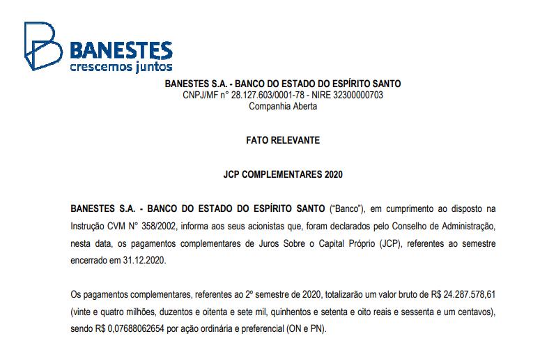 Banestes anuncia pagamento de juros sobre capital próprio até 20 de maio