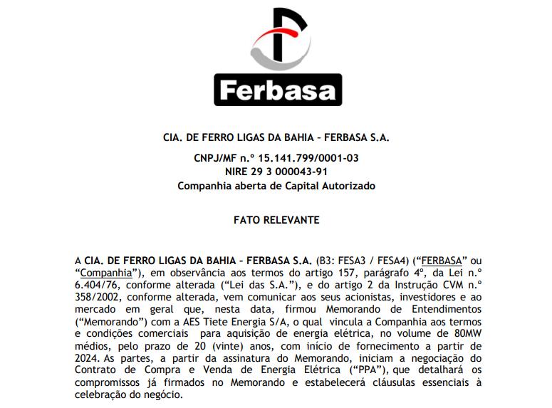 Ferbasa (FESA4) vai adquirir energia elétrica da AES Brasil (TIET11) a partir de 2024