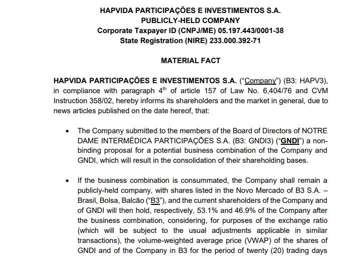 """Hapvida (HAPV3) faz proposta à Notre Dame (GNDI3) por """"potencial combinação de negócios"""""""