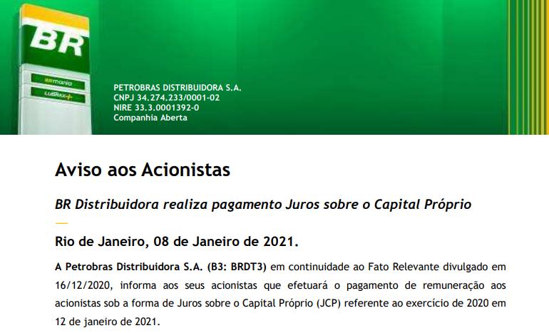 Petrobras (PETR4) anuncia pagamento de JCP para 12 de janeiro