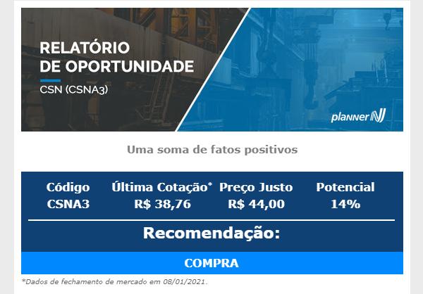 CSN (CSNA3): Planner reajusta preço-alvo para R$ 44 e recomenda compra