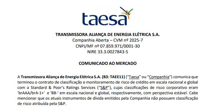 Taesa (TAEE11) encerra contrato monitoramento de risco de crédito com Standard & Poor's