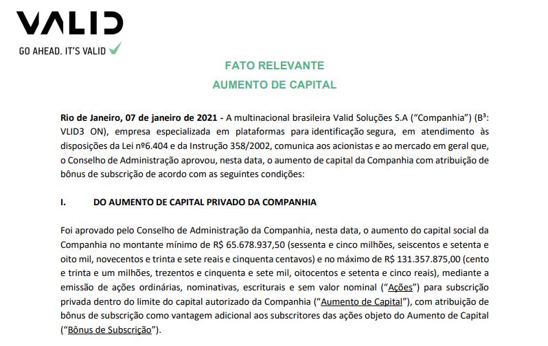 Valid (VLID3) aprova aumento de capital com atribuição de bônus de subscrição