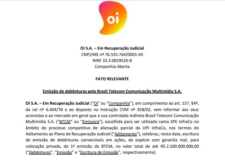 Oi (OIBR3, OIBR4) anuncia emissão de debêntures da Brasil Telecom Comunicação Multimídia