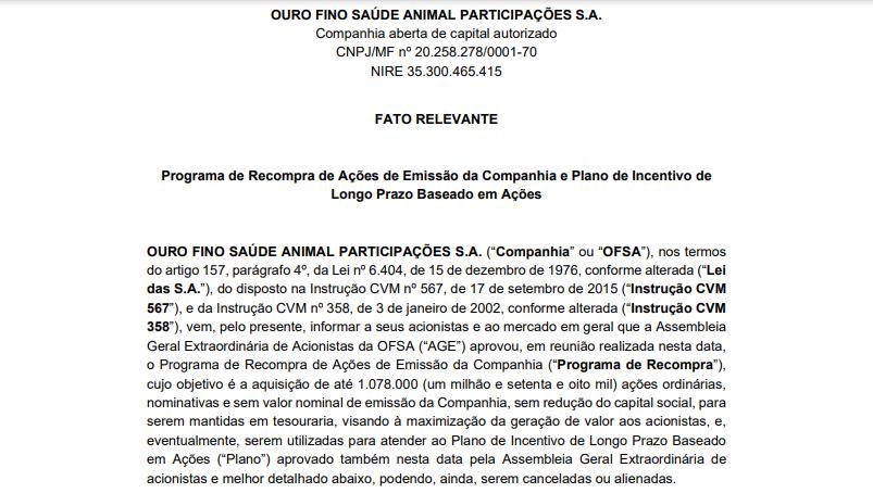 Ourofino (OFSA3) anuncia programa de recompra de ações e plano de Incentivo