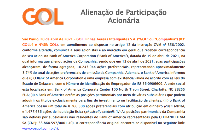 Gol (GOLL4) informa sobre alienação de ações por parte do Bank of America