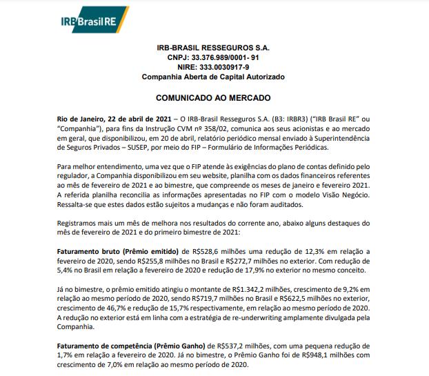 IRB Brasil (IRBR3) reporta queda de 12,3% no faturamento bruto de fevereiro