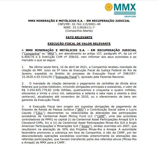 MMX Mineração (MMXM3) deve pagar R$3 bi em dívida ativa, determina 5ª Vara