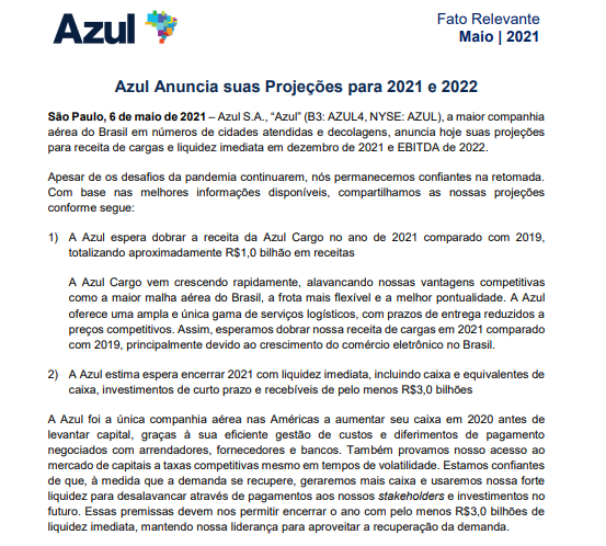 Azul anuncia suas projeções para 2021 e 2022
